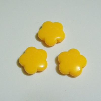 Margele plastic galben, floricele 15mm 1 buc