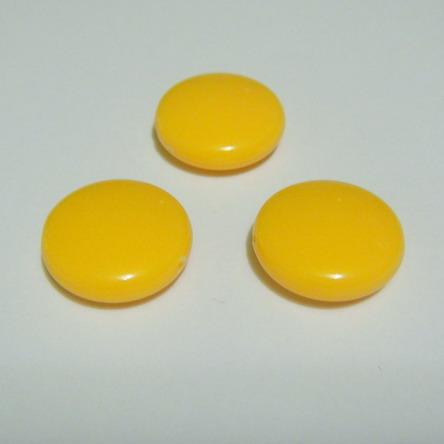 Margele plastic galben, disc 16mm 1 buc