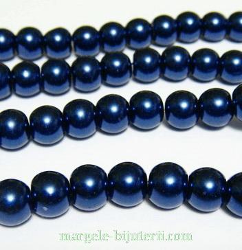 Perle sticla, bleumaren,  10mm 10 buc
