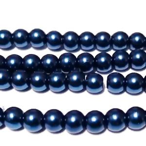 Perle sticla albastru inchis, 6mm 10 buc