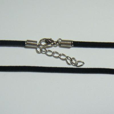 Snur suede, 3x1.5mm, negru, cu inchizatoare, 45 cm 1 buc