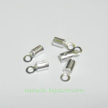 Capat prindere snur argintiu, cilindric, 8x3mm 10 buc