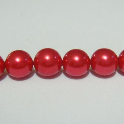 Perle sidef, vopsite rosii, 8mm 1 buc
