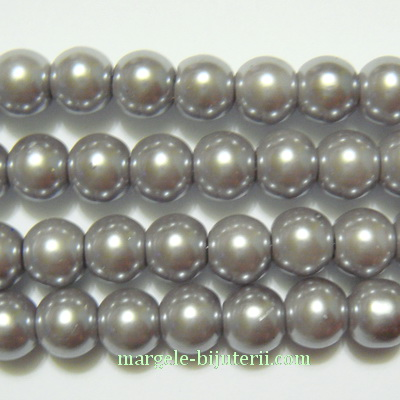 Perle sticla, gri, 8 mm 10 buc