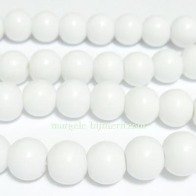Margele sticla, sferice, albe, 10mm 10 buc