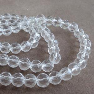 Margele sticla multifete transparente 6mm 10 buc