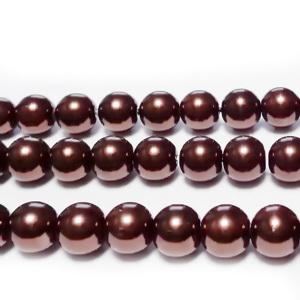 Perle sticla, maro, 8mm 10 buc