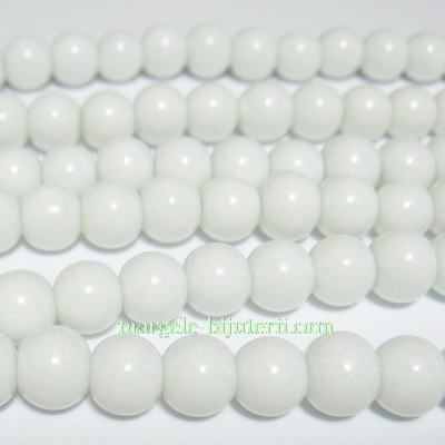 Margele sticla rotunde albe 6mm 10 buc