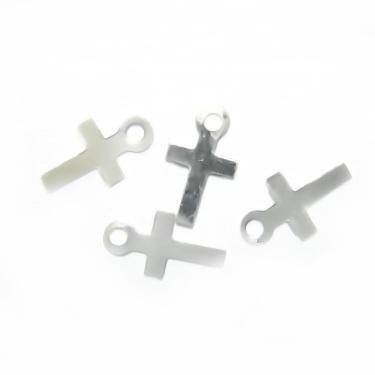 Pandantiv argintiu, cruciulita, 10x6x0.8mm 50 buc