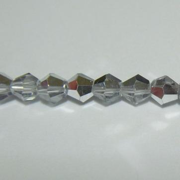 Margele sticla biconice, transparente-metalizate, 4mm 10 buc