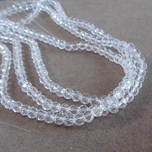 Margele sticla multifete transparente 4mm 10 buc