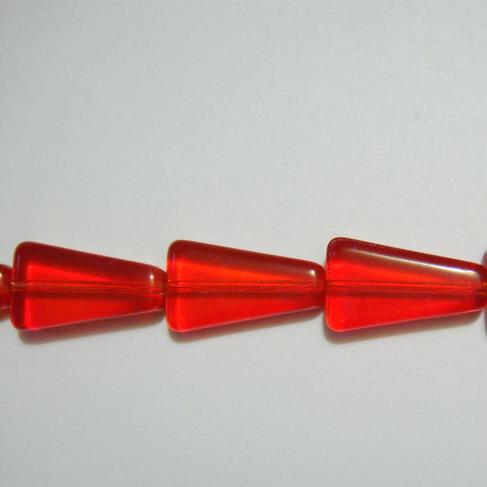 Margele sticla rosii, trapezoidale, 16mm 1 buc