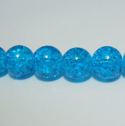 Margele sticla crackle albastre 10 mm 10 buc