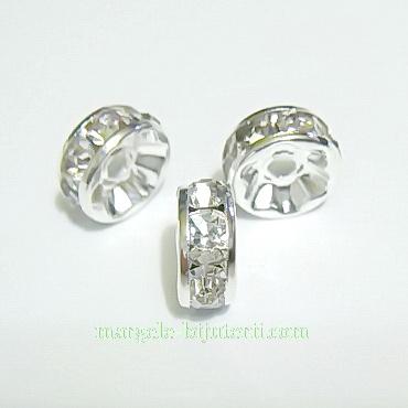 Rhinestone plat, pe baza argintie, transparente, 8x4mm 1 buc