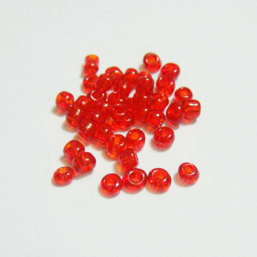 Margele nisip rosii transparente 3mm 20 g