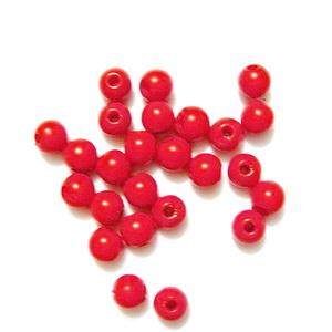 Margele plastic rosii, 4mm 10 buc
