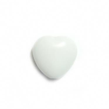 Margele plastic albe, inimioare 13x13mm 1 buc
