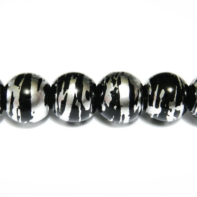 Margele sticla negre cu argintiu 6 mm 10 buc