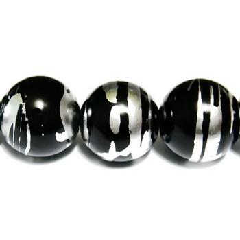 Margele sticla negre cu argintiu 12 mm 1 buc