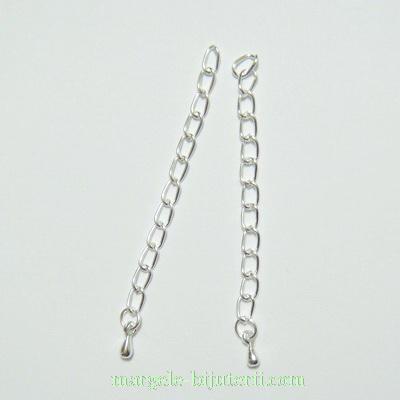 Capat lant argintiu cu bobita, lungime 5.6-6cm 10 buc