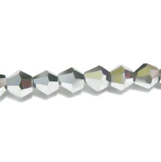 Margele sticla biconice argintii-metalizate 4mm 10 buc