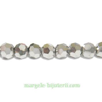 Margele sticla multifete argintii 4mm 10 buc