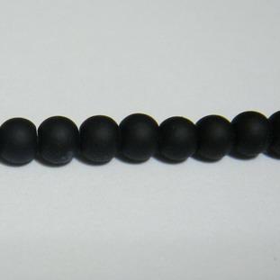 Margele sticla cauciucate, negre 4mm 10 buc