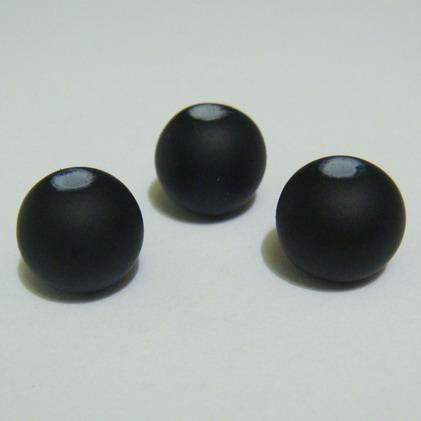 Margele sticla cauciucate, negre, 12mm 1 buc