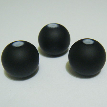 Margele sticla cauciucate, negre, 14mm 1 buc