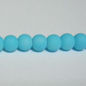 Margele sticla cauciucate, turcoaz, 4mm 10 buc