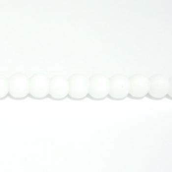 Margele sticla cauciucate, albe, 4mm 10 buc