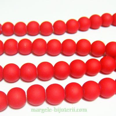 Margele sticla cauciucate, rosii, 8mm 10 buc