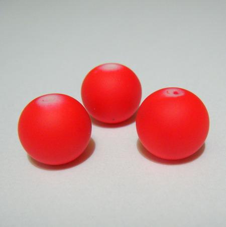 Margele sticla cauciucate, rosii, 12mm 1 buc