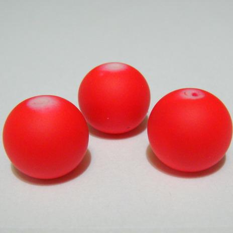 Margele sticla cauciucate, rosii, 14mm 1 buc