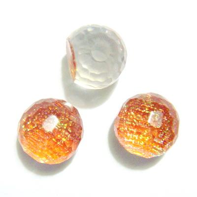 Cabochon  plastic maro, AB, 8x7 mm, platou 6mm 1 buc