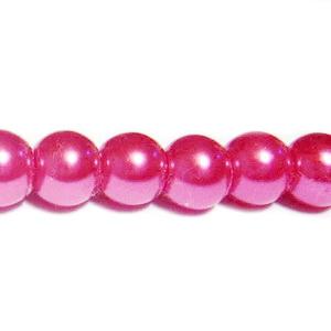 Perle sticla fucsia, 8mm 10 buc