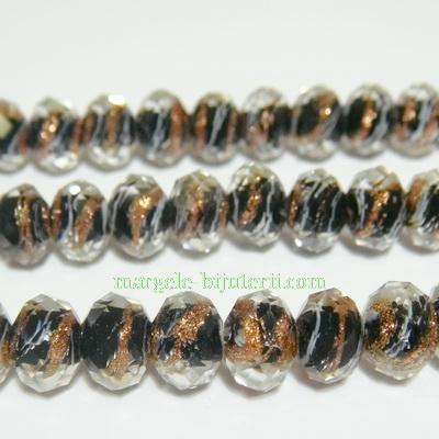 Margele sticla, lampwork, negre, multifete, 8x6mm 1 buc