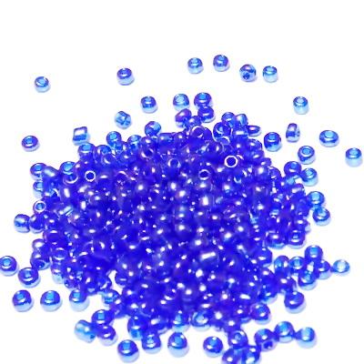 Margele nisip, albastru-cobalt, transparente, sidefate, 2mm 20 g