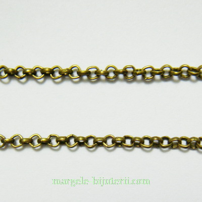 Lant bronz,  zale rotunde, 2mm 1 m
