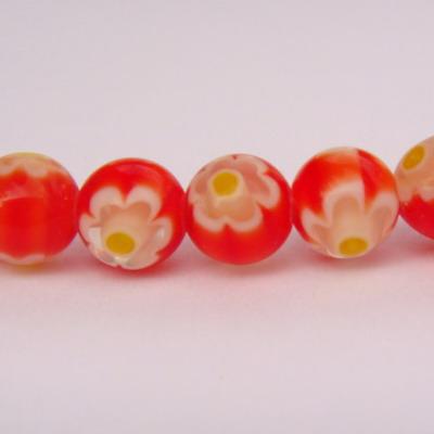 Margele millefiori rosii 6mm 1 buc
