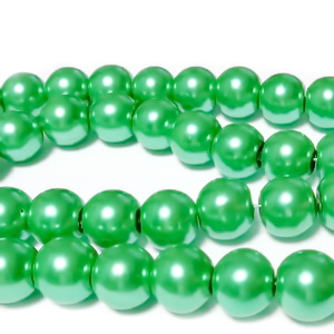 Perle sticla, verde deschis, 10mm 10 buc