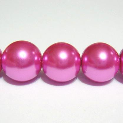 Perle sticla fucsia 12mm 10 buc