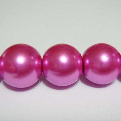Perle sticla fucsia 14mm 1 buc