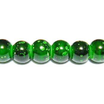 Margele sticla verzi, galactic, 6mm 10 buc