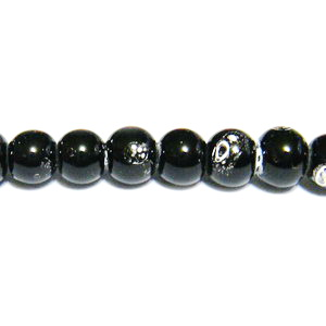 Margele sticla negre, galactic, 4mm 10 buc
