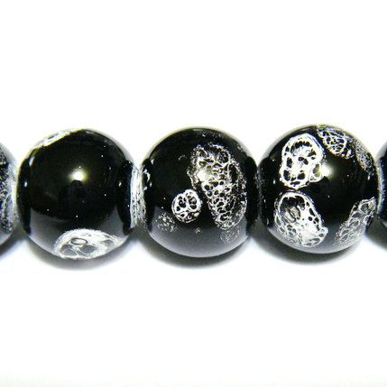 Margele sticla negre, galactic, 12mm 1 buc