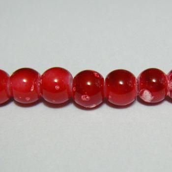 Margele sticla rosii, galactic, 8mm 10 buc