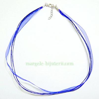 Snur din organza si ata cerata, albastru-cobalt, 45 cm 1 buc