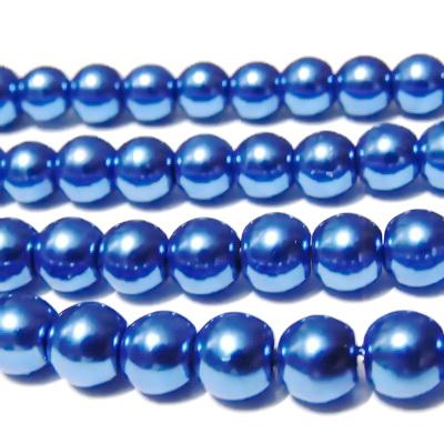 Perle sticla albastru-inchis, 8mm 10 buc