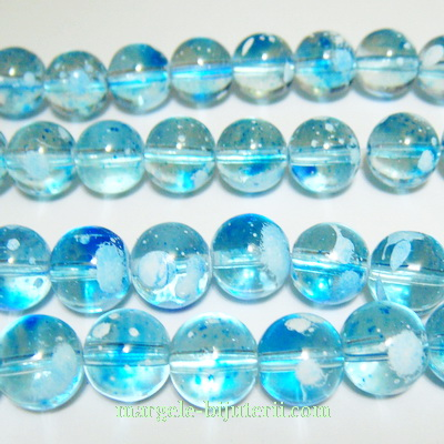 Margele sticla transparente albastre, galactic, 10mm 10 buc